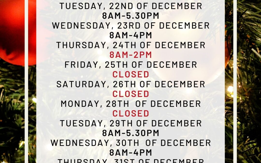 Christmas Opening hours-Doncaster East